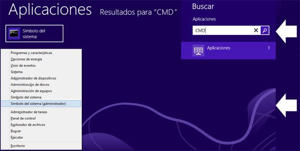 Como abrir simbolo del sistema en Windows 8.1