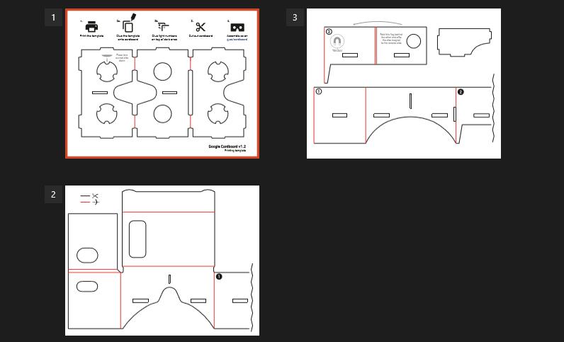 Estas plantillas puedes descargarla desde el siguiente enlace Descarga de  las plantillas de Gafas de realidad virtual.