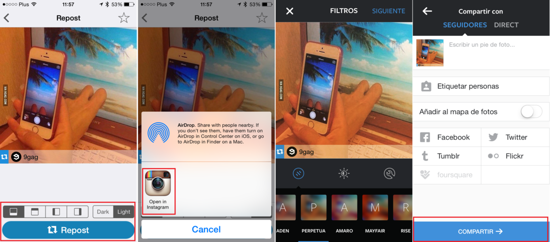 Como re postear fotos y videos de otros usuarios de Instagram