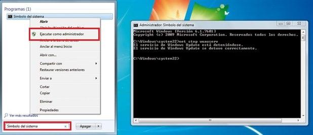 Simbolo del sistema en Windows 7 como administrador