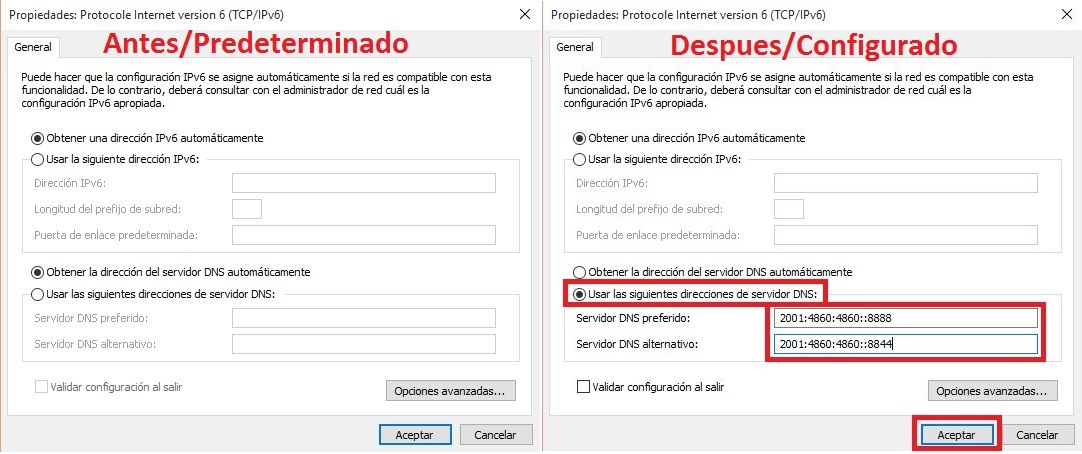 how to set google dns windows 10