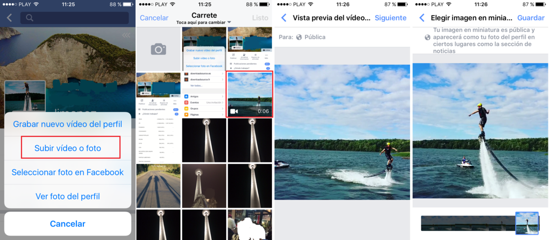Como poner un video como foto de perfil en la red social Facebook