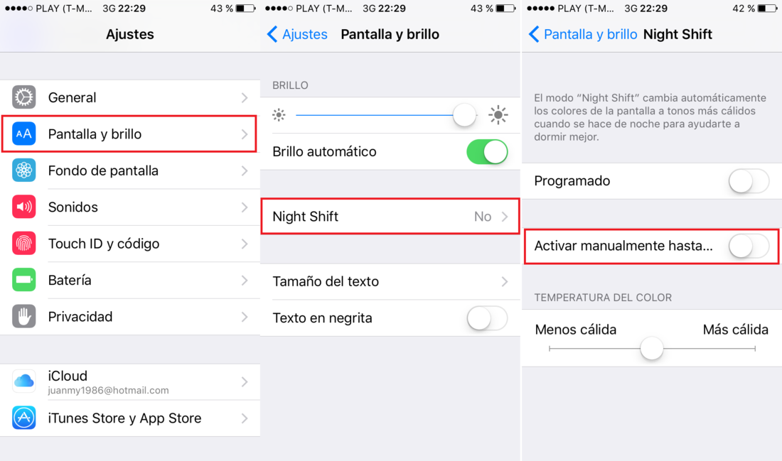 Desactivar o activar manualmente la función Night Shift en iOS 9.3