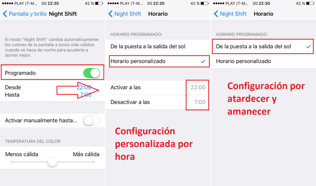 Configurar Night Shift en iPhone o iPad con iOS 9.3