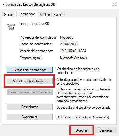 actualizar los controladores del lector de tarjetas SD