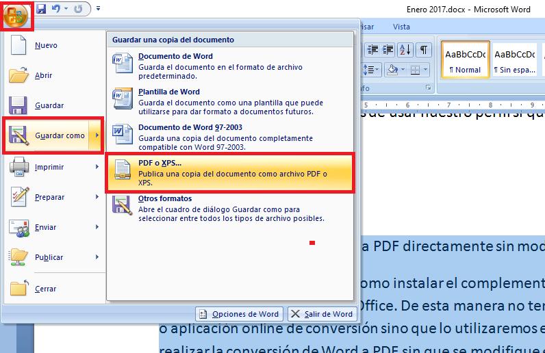 Como convertir archivos Word a PDF directamente sin