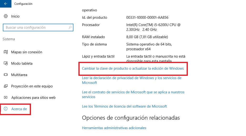 clave del producto windows 10 pro 64 bits